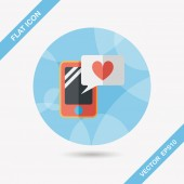 Valentine's Day message phone flat icon with long shadow,eps10 — 图库矢量图片