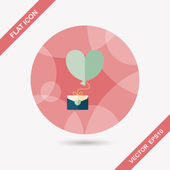 Valentine's day love letter flat icon with long shadow,eps10 — ストックベクタ