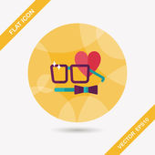 Valentine's day man costume flat icon with long shadow,eps10 — Stock Vector