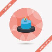 Valentine's Day candle flat icon with long shadow,eps10 — Stock vektor