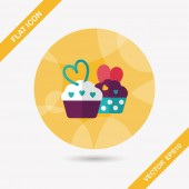 Valentine's Day cupcake flat icon with long shadow,eps10 — Vector de stock