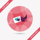 Wedding invitation flat icon with long shadow,eps10 — Vettoriale Stock