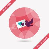 Wedding invitation flat icon with long shadow,eps10 — Stockvektor