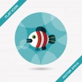 Fisch spielzeug flache icon mit langen schatten, eps 10 — Stockvektor