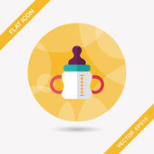 Baby bottle flat icon with long shadow,eps10 — ストックベクタ