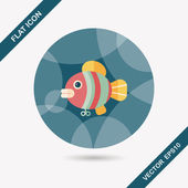 Fish toy flat icon with long shadow,eps 10 — Stock Vector