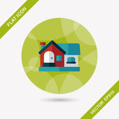 Building house flat icon with long shadow,eps10 — Vector de stock
