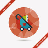 Baby carriages flat icon with long shadow,eps10 — Stock Vector