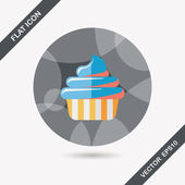 Birthday cake flat icon with long shadow,eps10 — Stock Vector
