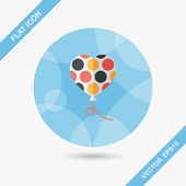 Birthday ballon flat icon with long shadow,eps10 — Stock Vector