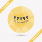 Birthday party flag flat icon with long shadow,eps10 — Stock Vector