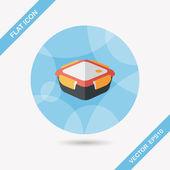 кухонная посуда, сохраняющая контейнерный плоский символ с длинной тенью, eps1 — Cтоковый вектор