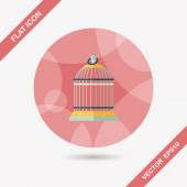 Pet bird cage flat icon with long shadow, eps10 — Stock Vector
