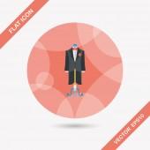Wedding groom suit flat icon with long shadow,eps10 — Stock Vector