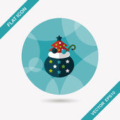 Santa Clauss gifts flat icon wtih long shadow,eps10 — Stock Vector