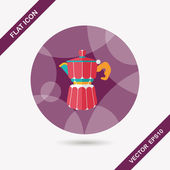 Coffee kettle flat icon with long shadow,eps10 — Vetor de Stock