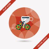 Ícone de plana tempo café com sombra longa, eps10 — Vetor de Stock