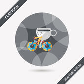 Icona piana di caffè tempo con ombra lunga, eps10 — Vettoriale Stock