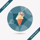 Halloween ice cream flat icon with long shadow,eps10 — Stock Vector