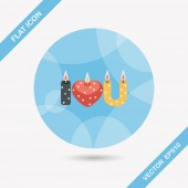 Valentine's Day candle flat icon with long shadow,eps10 — Stock Vector