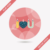 Valentine's Day candle flat icon with long shadow,eps10 — ストックベクタ