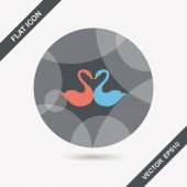 Valentine's Day lover swan flat icon with long shadow,eps10 — Stock Vector