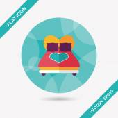 Valentine's Day lover bed flat icon with long shadow,eps10 — Stok Vektör
