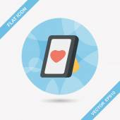 Valentine's Day photo frame flat icon with long shadow,eps10 — Stockvektor
