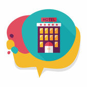Building hotel flat icon with long shadow,eps10 — Wektor stockowy