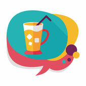 Iced drink flat icon with long shadow,eps10 — Stock Vector