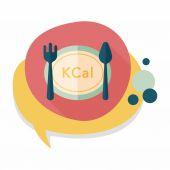 Kalorier diet plan ikonen med långa skugga, eps10 — Stockvektor