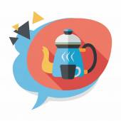 Coffee kettle and cup flat icon with long shadow,eps10 — Stock Vector