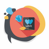 Valentine's day love letter flat icon with long shadow,eps10 — Vector de stock