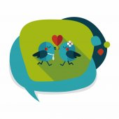Valentine's Day lover bird flat icon with long shadow,eps10 — Vettoriale Stock
