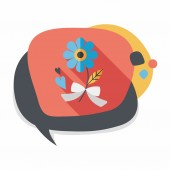 Valentine's Day flower flat icon with long shadow,eps10 — Stockvektor