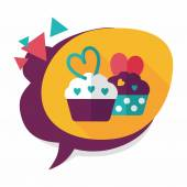 Valentine's Day cupcake flat icon with long shadow,eps10 — Stockvektor