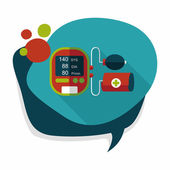 Sphygmomanometer blood pressure flat icon with long shadow,eps10 — Stock Vector