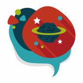 Space planet flat icon with long shadow,eps10 — Stockvector
