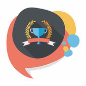 Trophy cup and laurel flat icon with long shadow,eps10 — Vector de stock