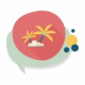 Palm tree flat icon with long shadow,eps10 — Vector de stock