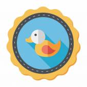 Duck toy flat icon with long shadow,eps 10 — Stock Vector