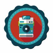Uzun Gölge, eps10 ile kamera düz simgesi — Stok Vektör