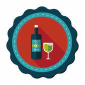 Láhev vína a sklo ploché ikony s dlouhý stín, eps10 — Stock vektor