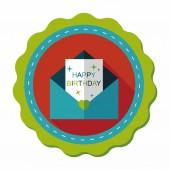 Icono de plano la tarjeta feliz cumpleaños con sombra, eps10 — Vector de stock