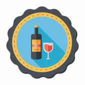 Wine bottle and a glass flat icon with long shadow,eps10 — Wektor stockowy