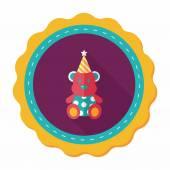Icono plana de cumpleaños oso de peluche con sombra, eps10 — Vector de stock