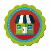 строя символ квартиры дома с длинной тенью, eps10 — Cтоковый вектор