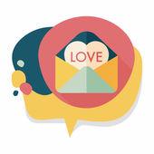 Sevgililer günü aşk mektubu düz simgesiyle uzun gölge, eps10 — Stok Vektör