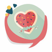 Valentine's Day cookie flat icon with long shadow,eps10 — Stock Vector