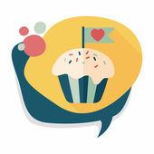 列Valentine's Day cupcake flat icon with long shadow,eps10印 — Stock Vector